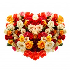 100 Mix Roses Heart Shape Bouquet