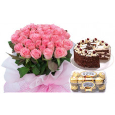 1/2 kg black forest + 16 pcs ferrero rocher + 30 pink rose bunch