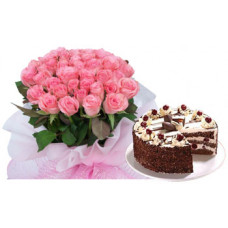1/2 kg black forest +  30 pink rose bunch