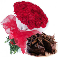 20 red carnation bunch + 1/2 kg belgian truffle cake