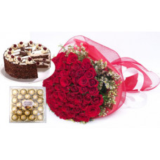 24 pcs ferrero rocher + 50 red rose bunch + 1/2 kg black forest cake