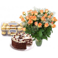20 orange rose in vase + 16 pcs ferrero rocher + 1/2 kg black forest cake