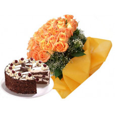 1/2 kg black forest cake + 20 orange rose bunch