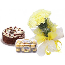 1/2 kg black forest cake + 16 pcs ferrero rocher + 20 yellow carnation bunch