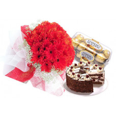 1/2 kg black forest cake + 16 pcs ferrero rocher + 20 red gerbera bunch