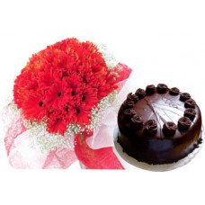 1/2 kg chocolate cake + 20 red gerbera bunch