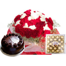 30 red white carnation bunch + 1/2 kg chocolate cake + 24 pcs ferrero rocher