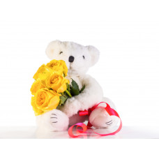 6 inches Teddy with 6 Yellow Roses