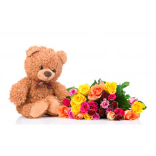 24 Mix Roses and 12 inches Teddy Combo