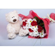 12 inch Teddy and Chrysanthemum Red Rose Bouquet