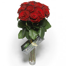 12 red rose in vase with after eight chocolate box