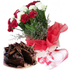 1/2 kg belgian truffle cake + 18 red white carnation bunch