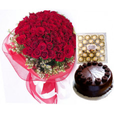 24 pcs ferrero rocher + 50 red rose bunch + 1/2 kg chocolate cake