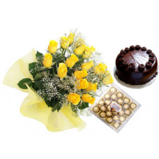 24 pcs ferrero rocher + 15 yellow rose bunch + 1/2 kg chocolate cake