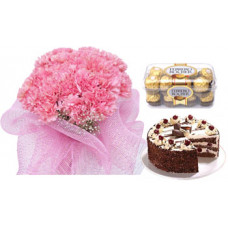 1/2 kg black forest cake + 16 pcs ferrero rocher + 20 pink carnation bunch