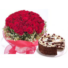 1/2 kg blakc forest + 50 red rose bunch