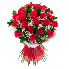 25 red rose red net packing