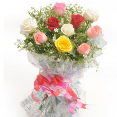 10 mix roses beautifully wrapped
