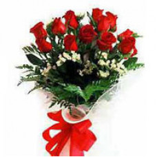 12 red rose bunch open packing