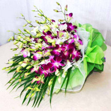 18 purple white orchid droopy bouquet