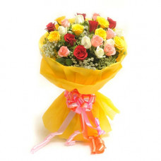 20 mix roses beautifully wrapped in yellow net