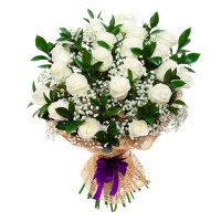 18 white roses greens bunch