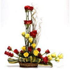 30 red and yellow rose basket elegantly designed
