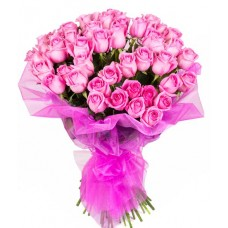 40 pink roses in pink net packing bunch