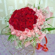 50 pink 50 red rose bunch