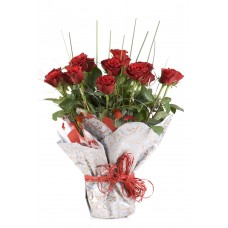 12 Designer Red Rose Bouquet