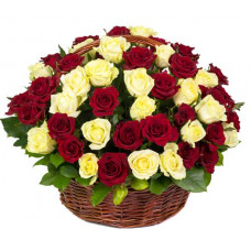 100 red yellow rose round basket