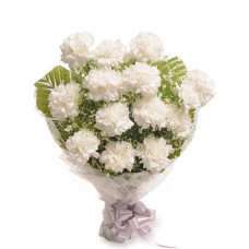 12 white carnation bunch