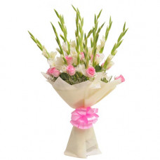 10 white glad 10 pink rose paper pack bunch