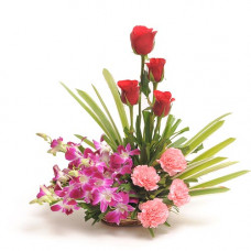 4 red rose 4 pink carnation 4 orchids small basket