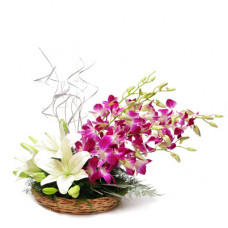 5 orchids 3 white lily basket