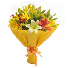 10 mix colour lily bunch