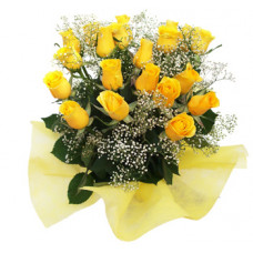 20 yellow rose in organdi pack