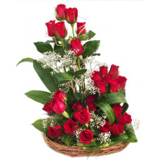 30 red rose in cane basket
