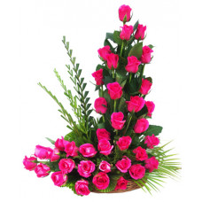 40 pink rose basket in cane basket
