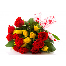 20 Yellow and Red Roses with ribbon
